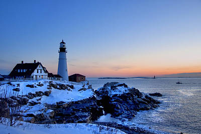 Winter In Maine Photograph - Portland Head Lighthouse Sunrise - Maine by Joann Vitali