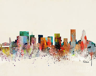 Portland Skyline Art Print by Bri Buckley