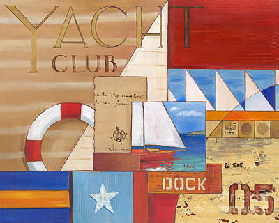 Yacht Club Painting - Portofino Collage I by Paul Brent