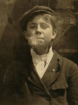Portrait Of A Boy Smoking A Pipe Art Print by Everett