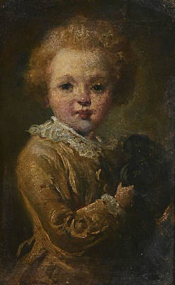 Portrait Of A Boy With His Dog Art Print