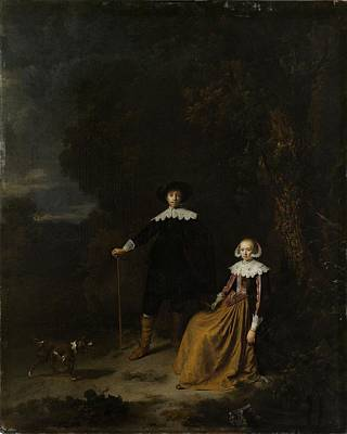 Portrait Of A Couple In A Landscape Art Print by Gerard Dou