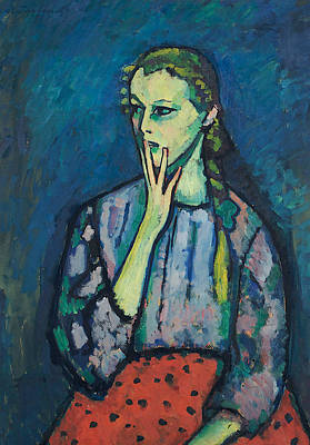 Russian Girl Wall Art - Painting - Portrait Of A Girl by Alexej von Jawlensky