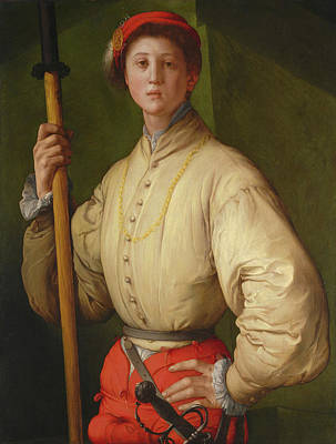 Male Painting - Portrait Of A Halberdier by Jacopo Pontormo