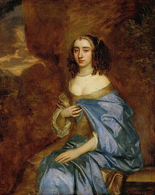 Women Painting - Portrait Of A Lady With A Blue Drape by Peter Lely