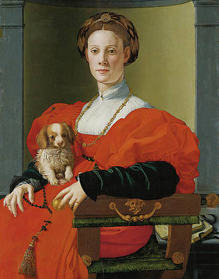 Mannerism Painting - Portrait Of A Lady With A Lapdog by Jacopo Pontormo