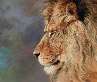 Painting - Portrait Of A Lion by David Stribbling