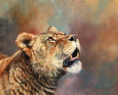 Painting - Portrait Of A Lioness by David Stribbling
