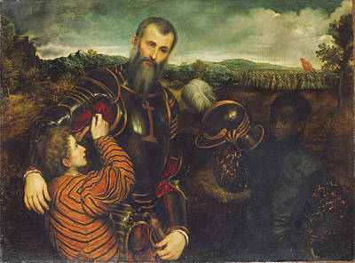Portrait Painting - Portrait Of A Man In Armor With Two Pages by Paris Bordon