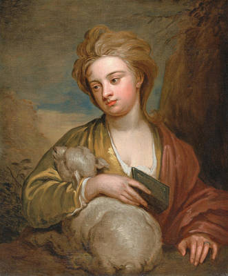 Kneller Painting - Portrait Of A Woman As St. Agnes by Godfrey Kneller