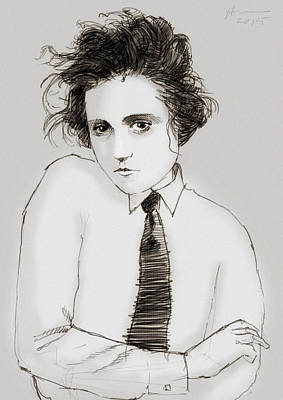 Androgyny Drawing - Portrait Of A Woman by H James Hoff