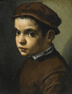 Painting - Portrait Of A Young Boy Bust Length Facing Left Dressed In A Maroon Doublet And Cap by Michele Tosini
