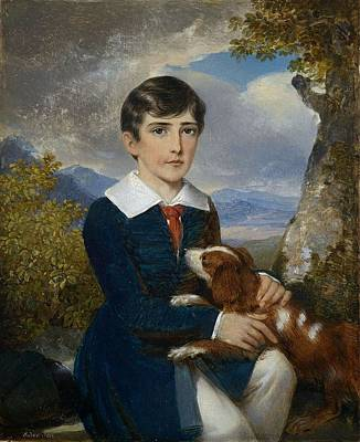 Portrait Of A Young Boy With A Spaniel Art Print by Johann Nepomuk