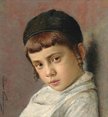 Painting - Portrait Of A Young Boy With Peyot by Isidor Kaufmann