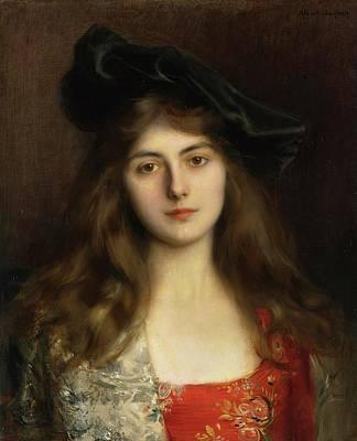 Portrait Of A Young Woman Art Print by Albert Lynch