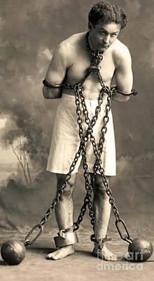 Portrait Of Harry Houdini In Chains. Circa 1900  Art Print
