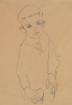 Drawing - Portrait Of Herbert Rainer by Egon Schiele