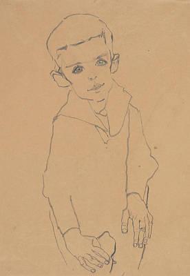 Drawing - Portrait Of Herbert Rainer by Egon Schiele
