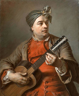 Maurice Quentin De La Tour Drawing - Portrait Of Jacques Dumont Le Romain Playing The Guitar by Maurice-Quentin de la Tour