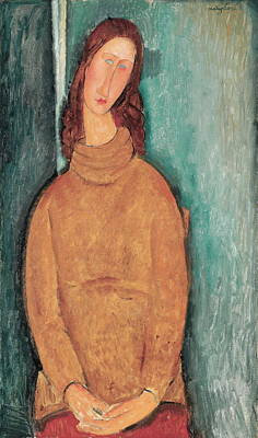 Portrait Of Woman Painting - Portrait Of Jeanne Hebuterne by Amedeo Modigliani