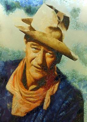 Digital Art - Portrait Of John Wayne by Charmaine Zoe