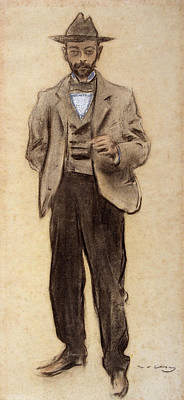 Portrait Of Manolo Hugue Print by Ramon Casas