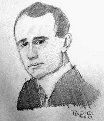 New Mind Drawing - Portrait Of Napoleon Hill by Tim Botta