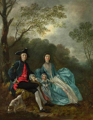 Tree Painting - Portrait Of The Artist With His Wife And Daughter by Thomas Gainsborough