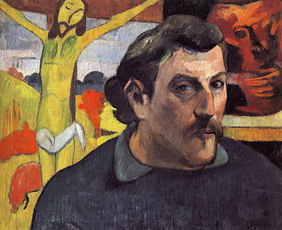 Crucifixion Painting - Portrait Of The Artist With Yellow Christ by Paul Gauguin
