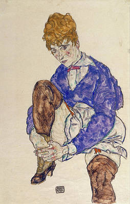 Expressionist Painting - Portrait Of The Artist's Wife Seated, Holding Her Right Leg by Egon Schiele
