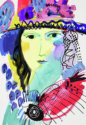 Painting - Portrait Of Woman With Flower Hat by Amara Dacer