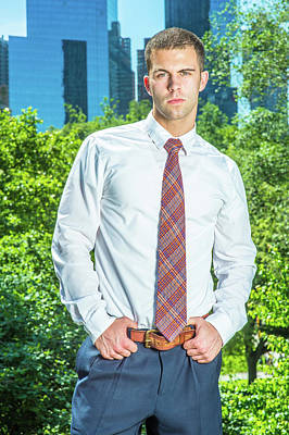 Photograph - Portrait Of Young American Businessman Working In New York In Su by Alexander Image
