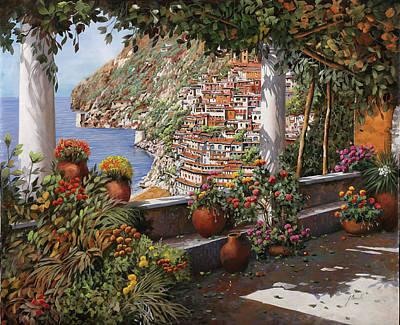 Column Painting - Positano Dalla Terrazza by Guido Borelli