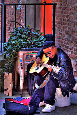 Musicians Royalty Free Images - Post Alley Musician Royalty-Free Image by David Patterson