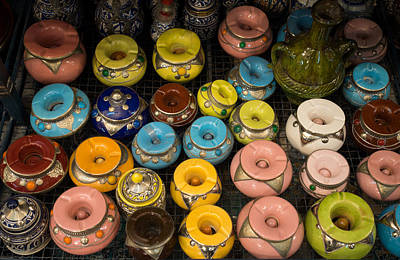 Pottery In Sales Room, Fes, Morocco Art Print