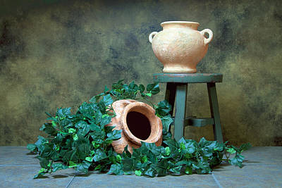 Tinted Photograph - Pottery With Ivy I by Tom Mc Nemar