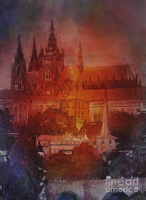 Vltava River Painting - Prague Castle by Ryan Fox