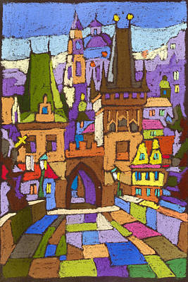 Pastel Painting - Prague Charles Bridge 01 by Yuriy  Shevchuk