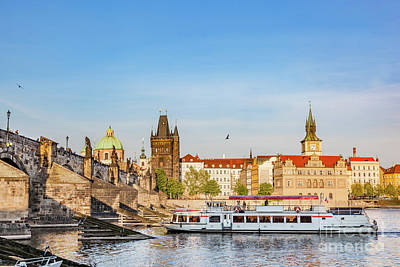 Photograph - Prague, Czech Republic. Charles Bridge, Boat Cruise On Vltava River by Michal Bednarek