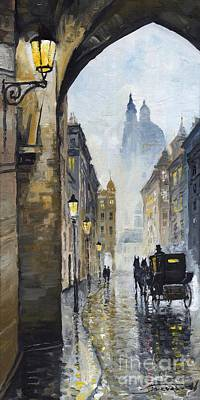 Raining Painting - Prague Old Street 01 by Yuriy  Shevchuk