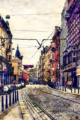 Praha Painting - Prague Street Watercolor by Justyna JBJart