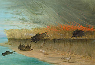Wildfire Painting - Prairie Meadows Burning by Mountain Dreams