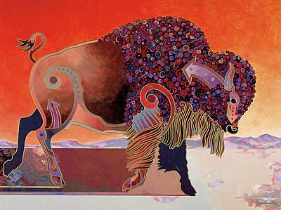 Bison Mixed Media - Prairie Prince by Bob Coonts