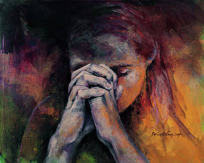 Painting - Praying by Dorina Costras