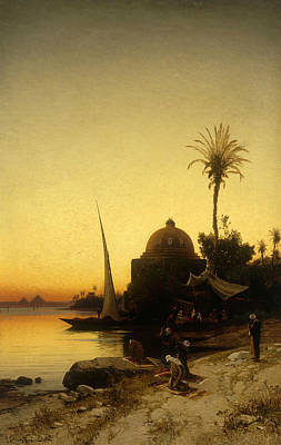 Sundown Painting - Praying To Mecca by Herman David Salomon Corrodi