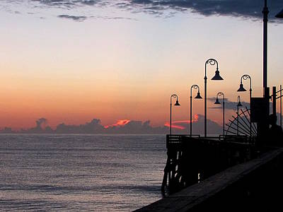 Photograph - Pre-sunrise On Daytona Beach Pier  000 by Chris Mercer