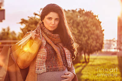 Photograph - Pregnant Woman With Shopping Bag by Anna Om