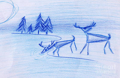 Drawing - Prehistoric Scenic by John Bowers