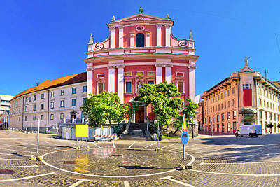 Photograph - Presern Square In Ljubljana Panoramic View by Brch Photography