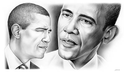 Politicians Drawings - President Barack Obama by Greg Joens